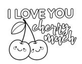 Desenho de I love you cherry much para colorear