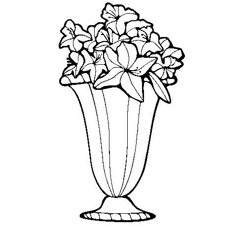 Desenho de Jarro de flores 2a para Colorir
