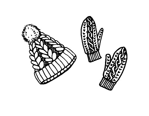 Desenho de Jogo de luvas e chapéu para Colorir