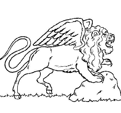 Desenho de Leão alado para Colorir