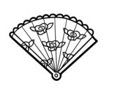 Desenho de Leque floral para colorear