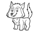 Desenho de Lobo jovem para colorear