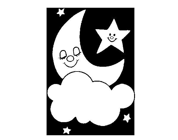 Desenho de Lua e estrelas para Colorir