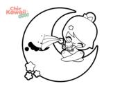 Desenho de Lua Kawaii para colorear