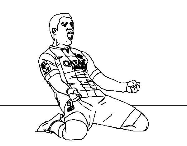 Desenho de Luis Suárez del Barça para Colorir