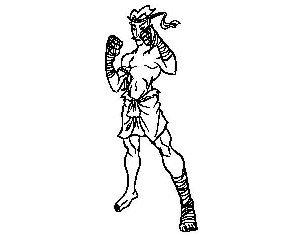Desenho de Lutador de Muay Thai para Colorir