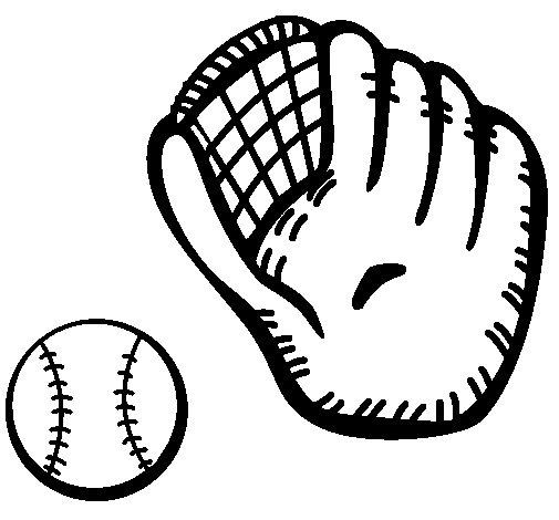 Desenho de Luva de basebol e bola para Colorir