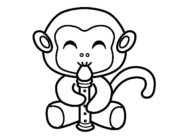 Desenho de Macaco flautista para Colorir