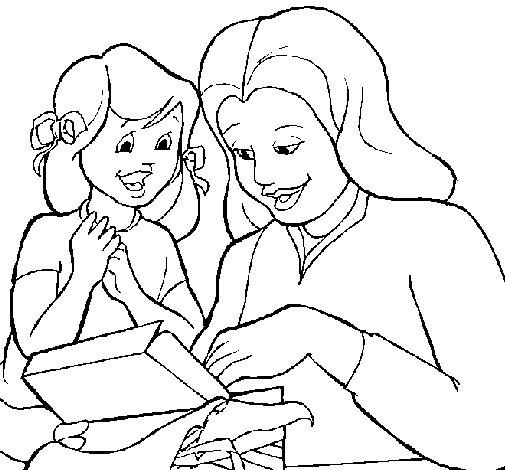 Desenho de Mãe e filha para Colorir