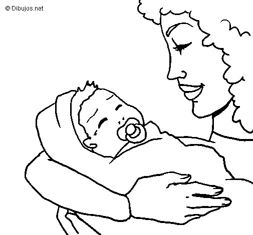 Desenho de Mãe e filho II para Colorir