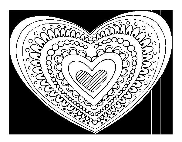 Desenho de Mandala coração para Colorir