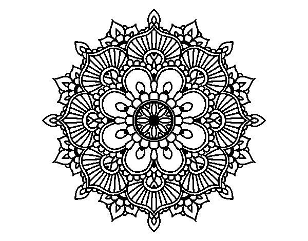 Desenho de Mandala flash floral para Colorir