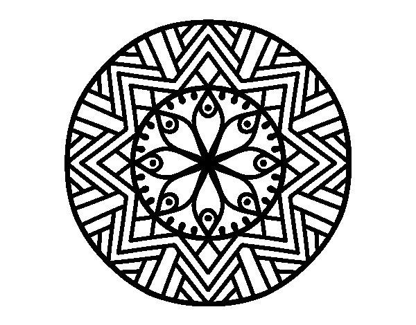 Desenho de Mandala flor de bambu para Colorir