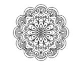 Desenho de Mandala flor e folhas  para colorear