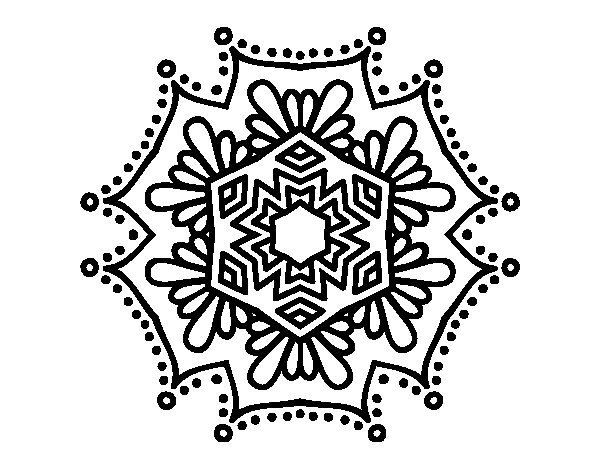 Desenho de Mandala flor simétrico para Colorir