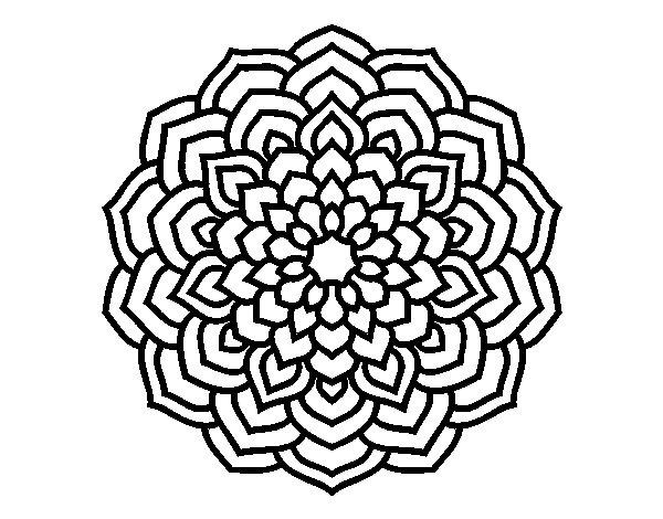 Desenho de Mandala pétalas de flores para Colorir