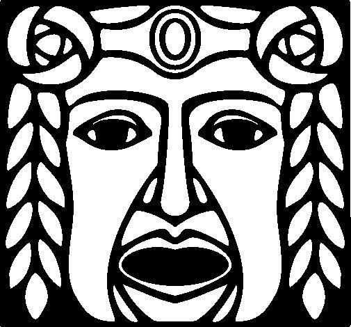 Desenho de Máscara Maia para Colorir