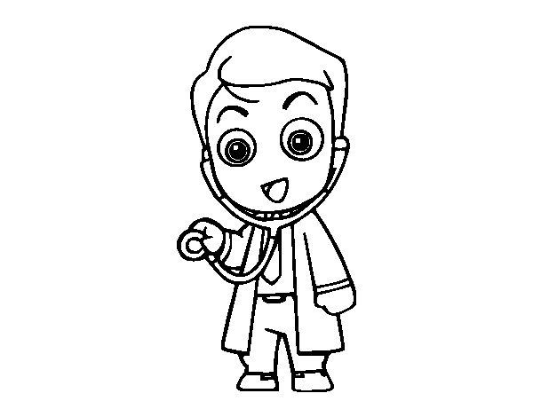 Desenho de Médico auscultando para Colorir