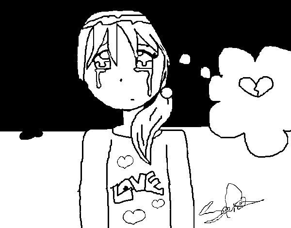 Desenho de Menina chorando para Colorir