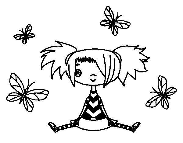 Desenho de Menina com borboletas para Colorir