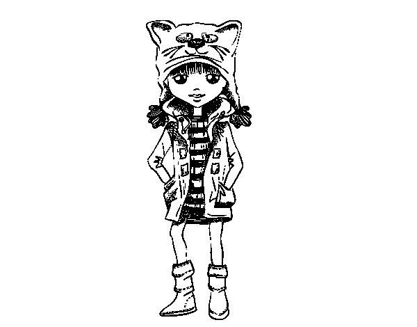 Desenho de Menina com chapéu de gato para Colorir