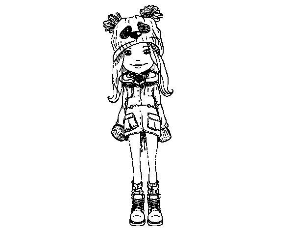 Desenho de Menina com chapéu e casaco para Colorir