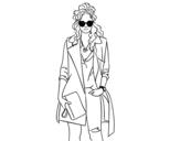 Desenho de Menina com gabardine para colorear