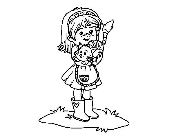 Desenho de Menina com gatito para Colorir