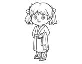 Desenho de Menina com pijama para colorear
