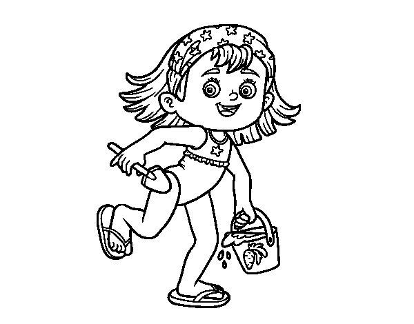 Desenho de Menina com praia balde e pá para Colorir