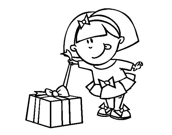 Desenho de Menina com presente para Colorir