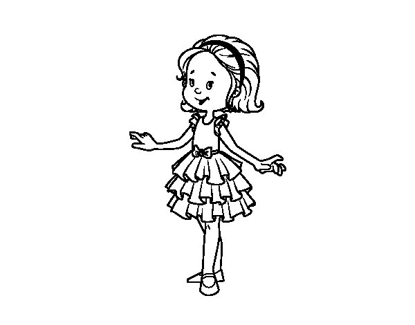 Dibujos De Baile Flamenco Para Colorear E Imprimir: Desenho De Menina Com Vestido De Baile Para Colorir