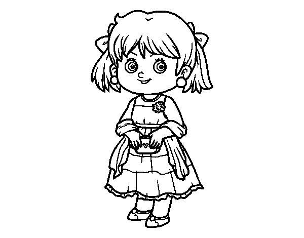 Desenho de Menina com vestido elegante para Colorir ...