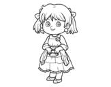 Desenho de Menina com vestido elegante para colorear