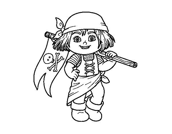 Desenho de Menina do pirata para Colorir