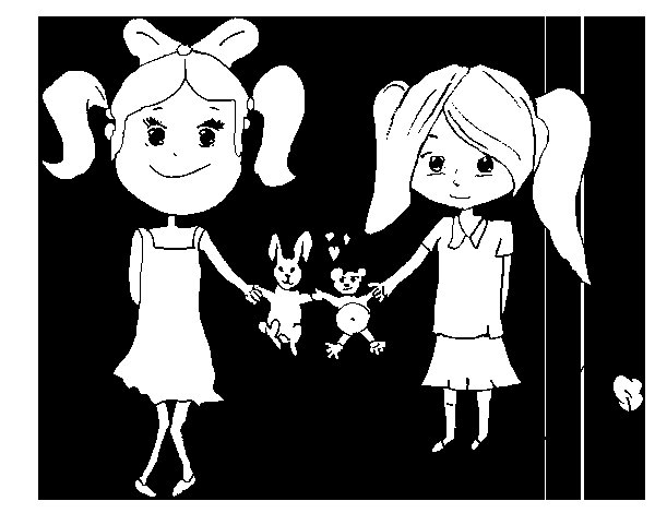 Desenho de Meninas com bichos de pelúcia para Colorir