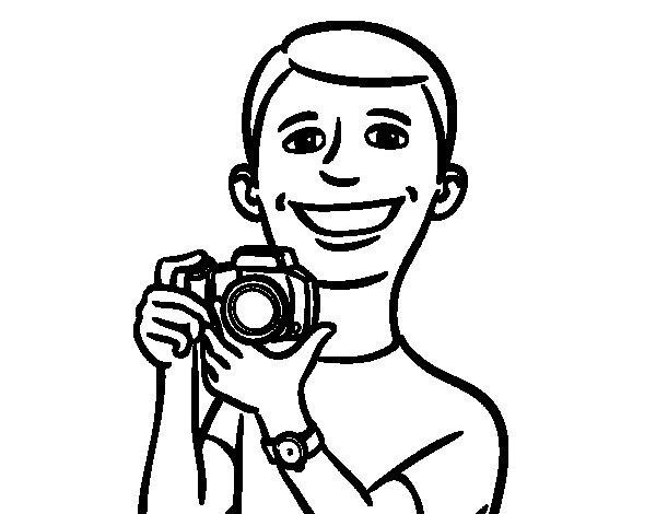 Desenho de Menino com a câmera para Colorir