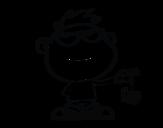 Desenho de Menino com aranha para colorear
