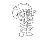 Desenho de Menino do pirata e seu macaco para colorear