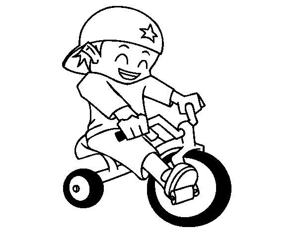 Desenho de Menino em triciclo para Colorir