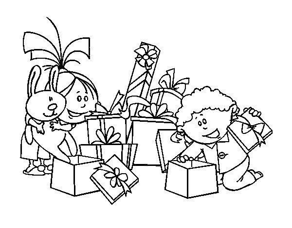 Desenho de Meninos e presentes para Colorir