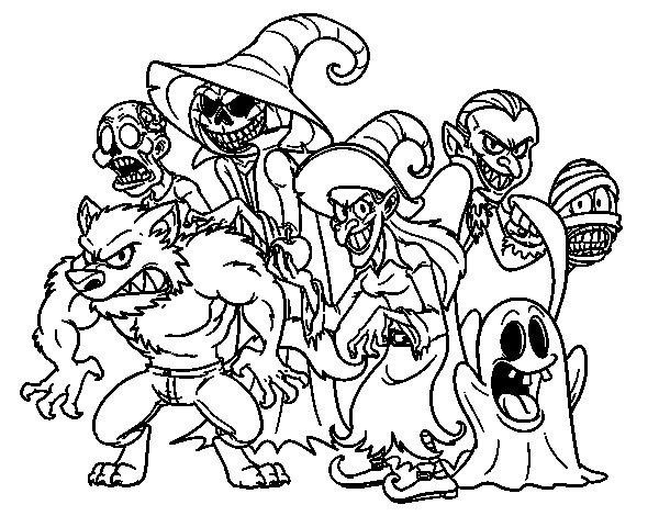 Desenho de Monstro do Halloween para Colorir