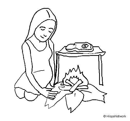 Desenho de Mulher a cozinhar para Colorir