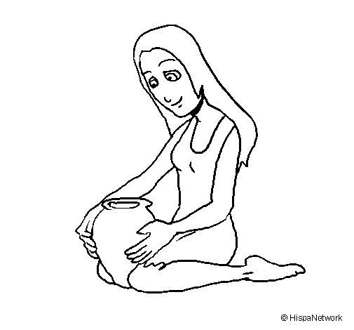 Desenho de Mulher e jarrão para Colorir