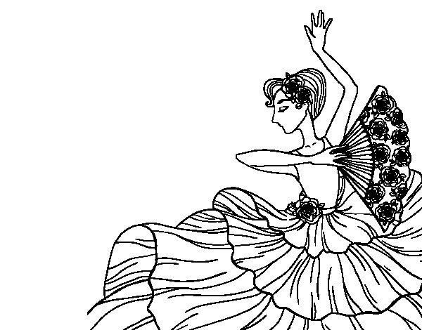 Desenho de Mulher flamenco para Colorir