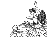 Desenho de Mulher flamenco para colorear