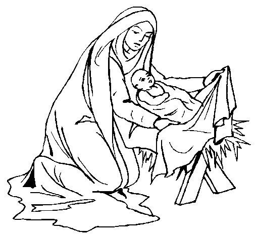 Desenho de Nascimento do menino Jesús para Colorir
