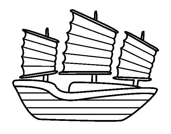 Desenho de Navio oriental para Colorir