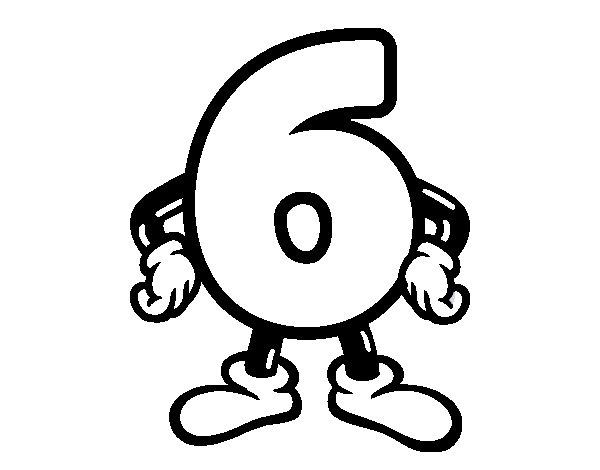 Desenho de Número 6 para Colorir