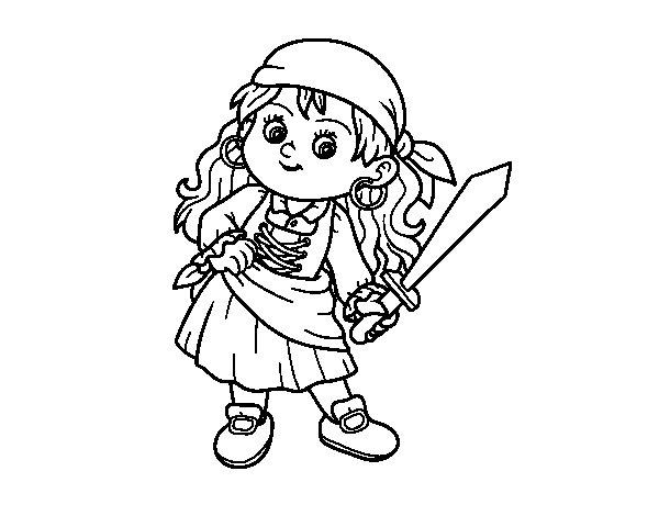 Desenho de O menina pirata para Colorir